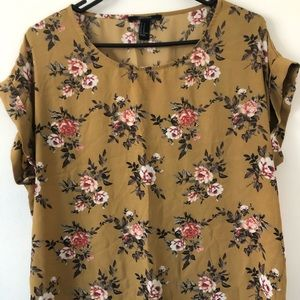 Forever 21 Mustard Yellow Floral Blouse